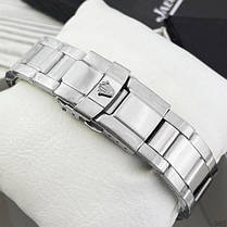 Часы Мужские Rolex Daytona Quartz Date Silver-Black, Браслет серебряный, Черный цф, фото 2