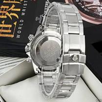 Часы Мужские Rolex Daytona Quartz Date Silver-Black, Браслет серебряный, Черный цф, фото 3