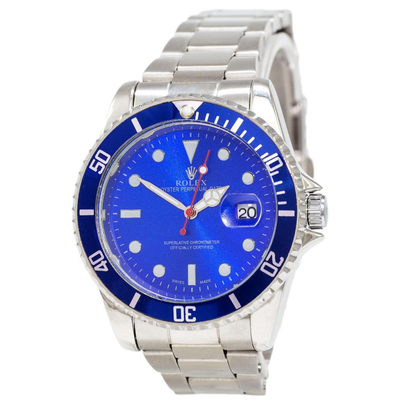 Часы Женские  Rolex Submariner 2128 Quarts Silver-Blue, Браслет серебряный, Голубой цф