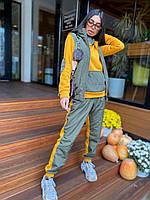 Женский спортивный костюм - тройка утепленный с худи, жилетом и брюками (р.42 - 46) 63msp1178, фото 1