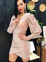 Люрексовое платье с имитацией запаха и рукавами фонариками ( р. S, M, L) 4mpl1772, фото 1