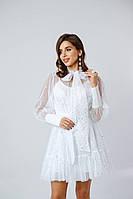Нарядное платье - двойка из шелка с верхом из сетки с блестками (р. S, L) 14mpl1788