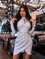 Коктейльное короткое платье с асимметрией на юбке и вырезом - каплей (р. S, М) 66mpl1793Е, фото 1
