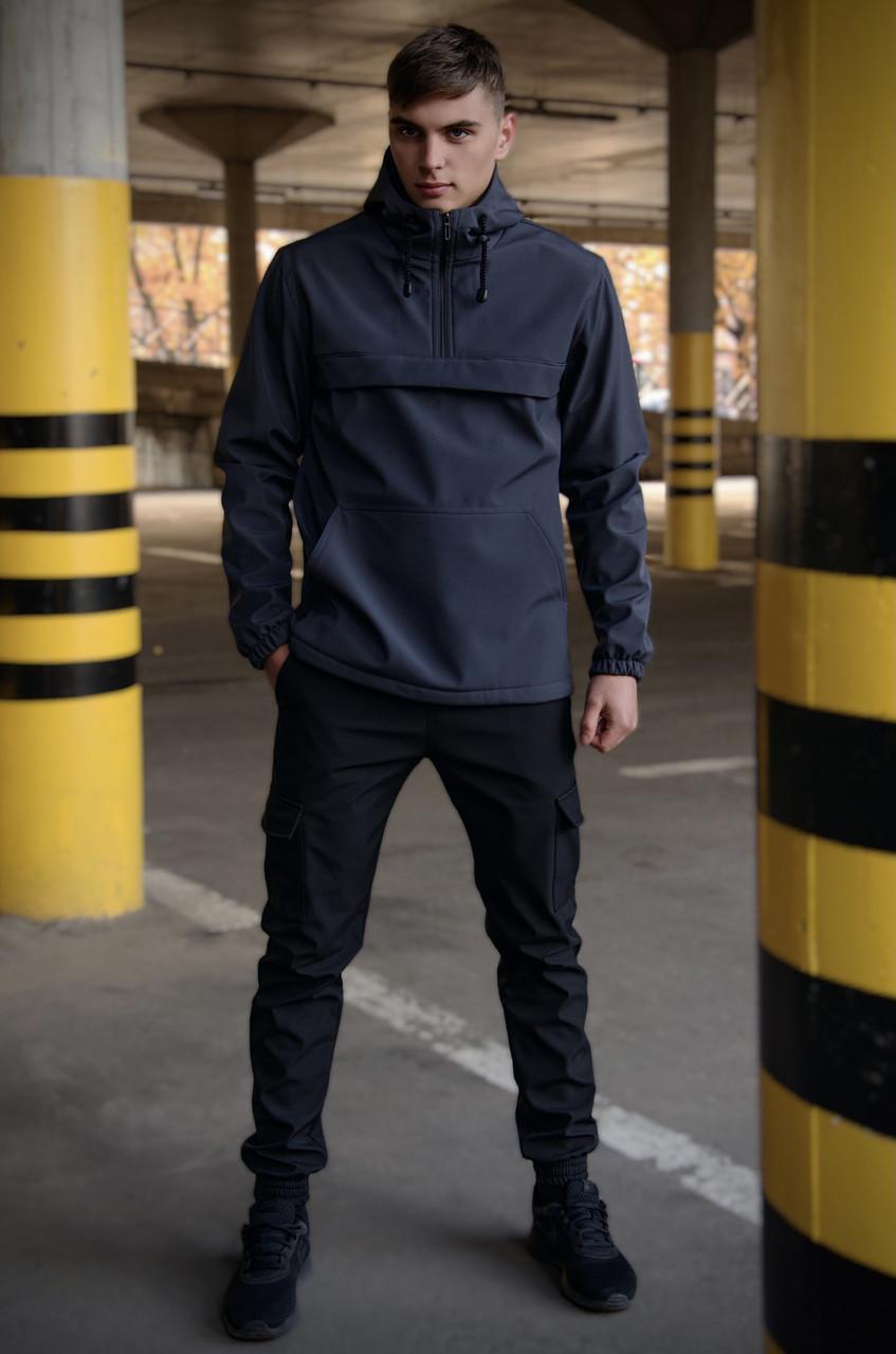 Костюм мужской серый черный демисезонный Intruder Softshell Walkman. Анорак мужской, штаны утепленные+Ключница
