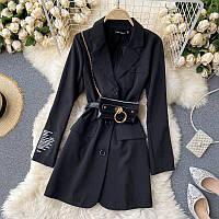 Чорне плаття піджак з поясом і сумочкою на ланцюжку (р. M, L) 68mpl1795, фото 1