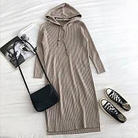 Спортивное прямое платье вязаное длиной миди с капюшоном (р. 42-46) 68mpl1798, фото 1