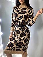 Вязаное платье миди в леопардовый принт из полушерсти с хлопком (р. 42-46) 40mpl1799, фото 1