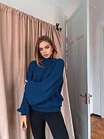 Жіночий светр вовняний в'язка з широкими рукавами-ліхтариками (р. 42-46) 36dmde1031, фото 1