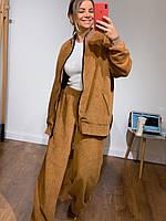 Женский костюм вельветовый с кофтой на змейке и штанами клеш (р. 42 44) 3mko1491, фото 1