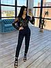 Женский нарядный брючный комбинезон с кружевным верзом и зауженными штанами 66mko1499Q