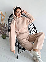 Женский брючный костюм утепленный - штаны клеш и кофта с капюшоном (р. 42, 44) 17mko1500, фото 1