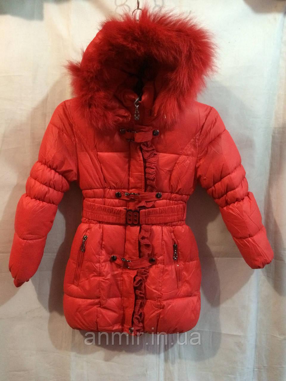 Полупальто зимнее для девочки 4-8 лет,Оранжевое, фото 1
