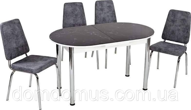 Комплект обеденной мебели Графит  (стол овал  ДСП + каленное стекло + 4 стула) Лидер, Турция