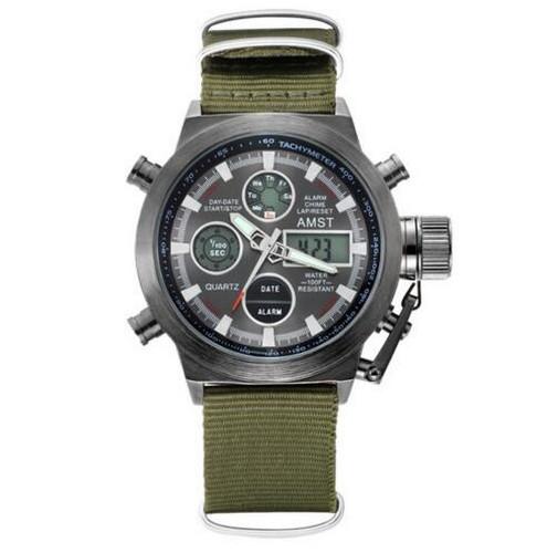 Годинник Чоловічий AMST 3003 Black-Black Green Військовий, Армійський, тактичний, Тканинний ремінець-нейлон