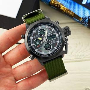 Годинник Чоловічий AMST 3003 Black-Black Green Військовий, Армійський, тактичний, Тканинний ремінець-нейлон, фото 2