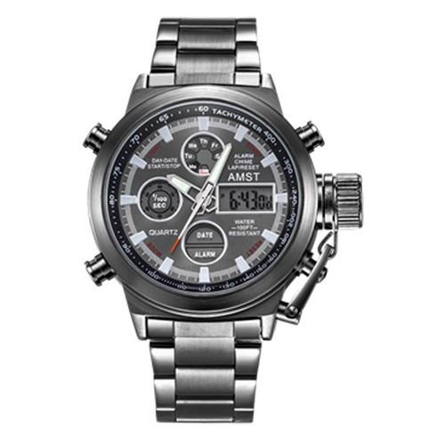 Годинник Чоловічий AMST 3003M All Black Metall, Військові, Армійський, тактичний, Чорний браслет