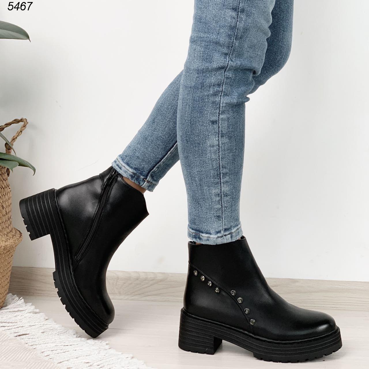 37 р. Ботинки женские зимние зима черные на среднем каблуке каблучке из искусственной кожи кожаные кожа