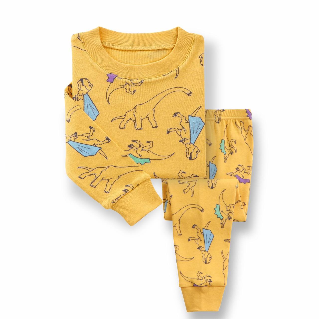 Дитяча піжама для хлопчика артикул 721 пісочний динозаври