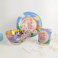 Подарунковий набір дитячого посуду зі скла Свинка Пеппа