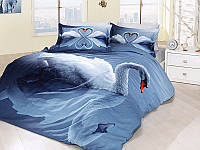 Постельное белье First Choice 3D Didjital Swan Mavi сатин 220-200 см синий