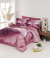 Постельное белье First Choice 3D Didjital Swan Pudra сатин 220-200 см розовый