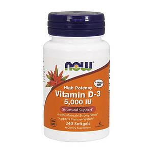 Витамин Д3 NOW Vitamin D-3 5000 IU 240 softgels
