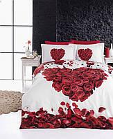 Постельное белье First Choice 3D Didjital Valentine сатин 220-200 см белый