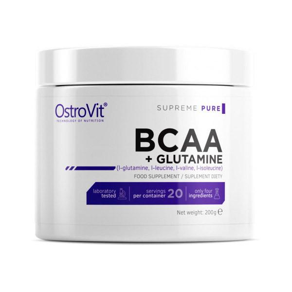ВСАА Аминокислоты OstroVit 100% BCAA+Glutamine 200 g натуральный вкус
