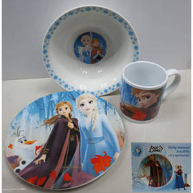 Набор детской посуды Снежная Королева 3 предмета Фарфор Interos ТМ-19