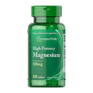 Магний Puritan's Pride Magnesium 500 mg High Potency 100 tablets
