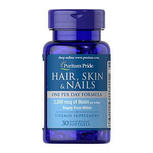 Витамины для волос, кожи и ногтей Puritan's Pride Hair, Skin & Nails One Per Day Formula 30 softgels