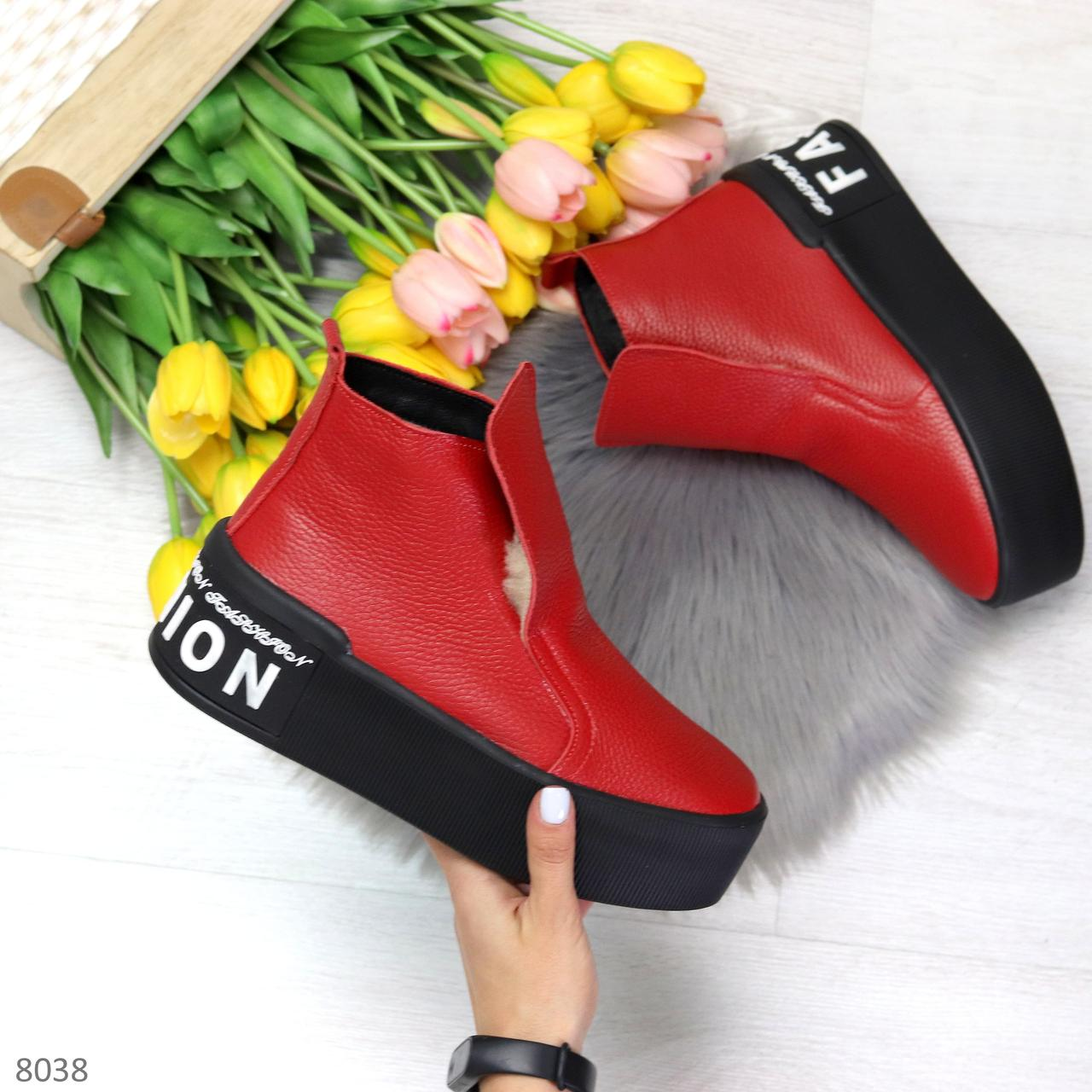 Дизайнерские яркие красные женские зимние ботинки из натуральной кожи