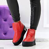 Дизайнерские яркие красные женские зимние ботинки из натуральной кожи, фото 2