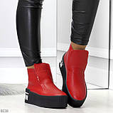 Дизайнерские яркие красные женские зимние ботинки из натуральной кожи, фото 3