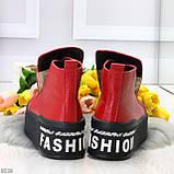 Дизайнерские яркие красные женские зимние ботинки из натуральной кожи, фото 6