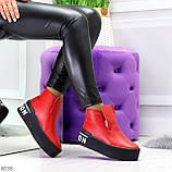 Дизайнерские яркие красные женские зимние ботинки из натуральной кожи, фото 9