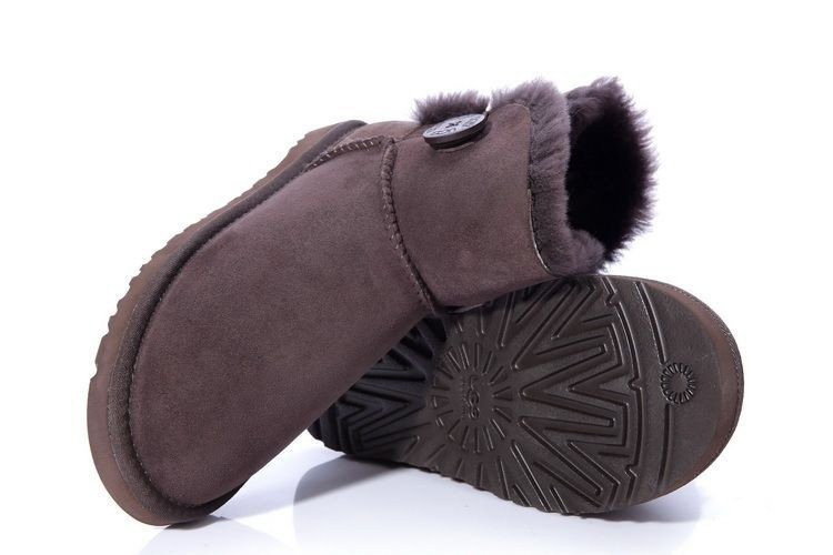 "Женские угги UGG MINI BAILEY BUTTON II BOOT ""CHOCOLATЕ"""