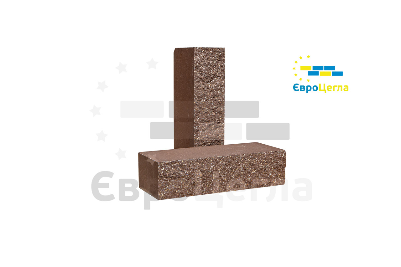 Фасадна цегла коричневий колотий повнотіла, 250х100х65мм