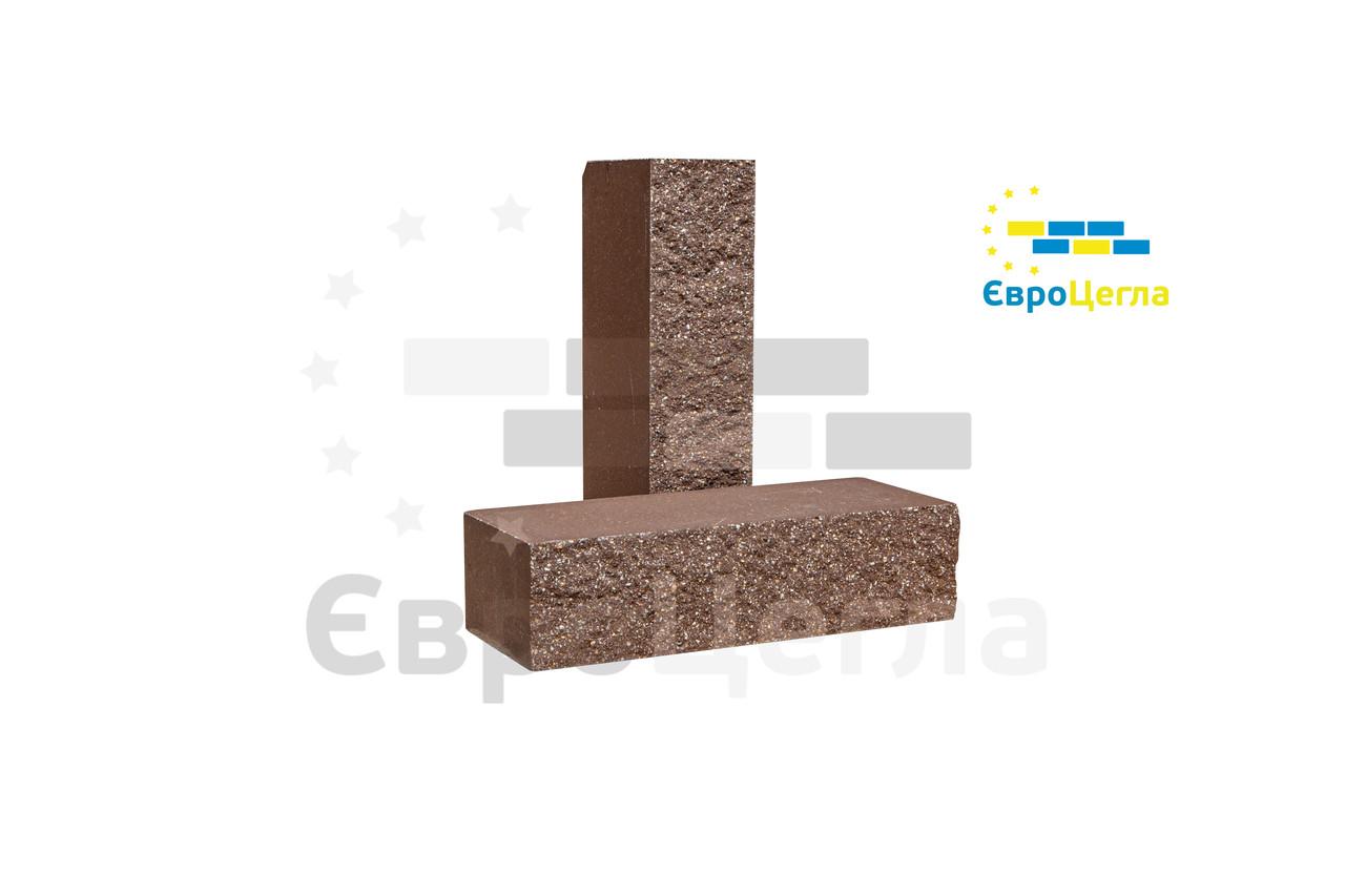 Фасадный кирпич коричневый колотый полнотелый, 250х100х65мм
