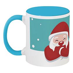 Кружка Santa and Reindeer (голубая)