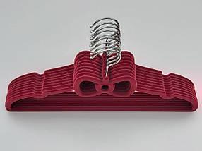 Плечики флокированные (бархатные, велюровые) бардового цвета, длина 39,5 см, в упаковке 9 штук, фото 2