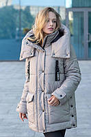 Зимняя женская батальная куртка с капюшоном 46,48,50 52 54 56 размер Светло-Серая