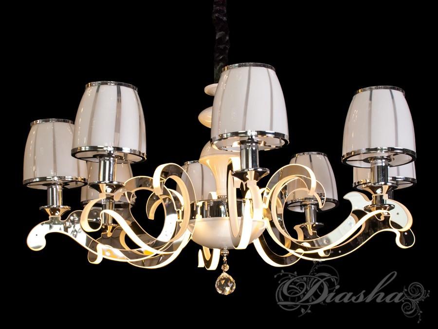 Классическая люстра на 8 ламп с подсветкой рожков 8316/8HR