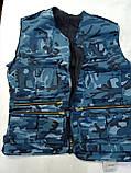 Жилет разгрузочный для рыбалки и охоты 9 карманов (Рисунки Пиксель, Кмф дубок, синий город и тд), фото 5