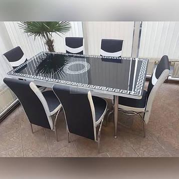 Стол раскладной из стекла и 6 стульев Обеденный комплект  из ударостойкого каленого стекла толщиной 3 мм