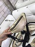 Стильная яркая бананка кожзам/золото/арт.5017, фото 5