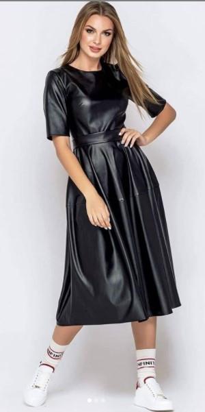 платье женское из экокожи
