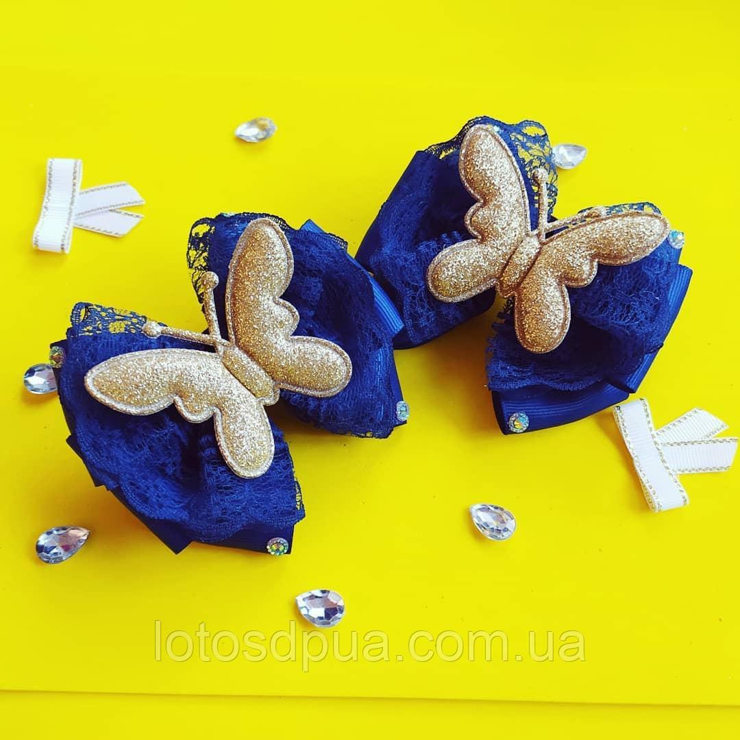 Бант на резинке с бабочкой из экокожи