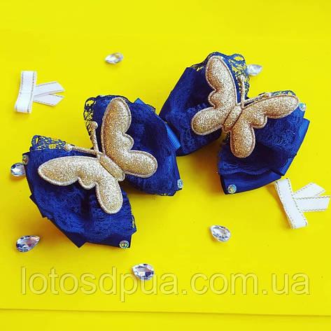 Бант на резинке с бабочкой из экокожи, фото 2