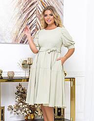 Женское модное ментоловое платье пышное батал